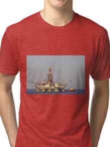 Off Shore Oil Rig with Helicopter and Boat Tri-blend T-Shirt