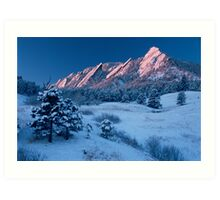 Cathedral - The Flatirons At Sunrise Art Print