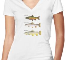 Three Breeds of Trout Women's Fitted V-Neck T-Shirt