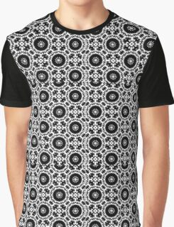 Wheel and Flower Pattern Graphic T-Shirt