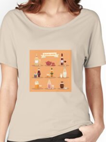 Set of Different Drinks in Ware Women's Relaxed Fit T-Shirt
