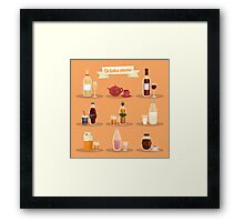 Set of Different Drinks in Ware Framed Print