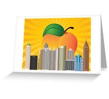 Atlanta Georgia City Skyline  with Peach Illustration Greeting Card