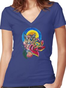 *TATTOO STYLE* Owl With rose Women's Fitted V-Neck T-Shirt