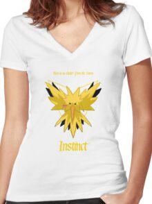 Team Instinct - Zapdos Women's Fitted V-Neck T-Shirt