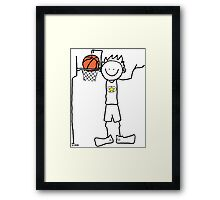 Slam dunk by a very tall basketball player - FOR LIGHT COLORED BACKGROUND Framed Print