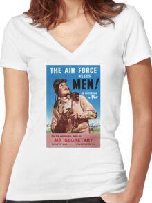 New Zealand Vintage Poster Restored Women's Fitted V-Neck T-Shirt