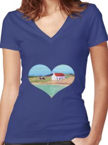 Hebridean Bay 2 Women's Fitted V-Neck T-Shirt
