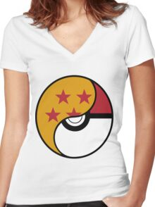 Dragon Ball x Pokemon Women's Fitted V-Neck T-Shirt