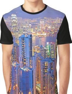 Hong Kong skyline and Victoria Harbour Graphic T-Shirt