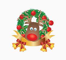 Reindeer in Christmas Wreath Illustration Unisex T-Shirt