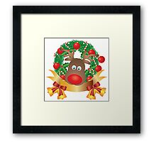 Reindeer in Christmas Wreath Illustration Framed Print