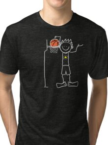 Slam dunk by a very tall basketball player - FOR DARK COLORED BACKGROUND Tri-blend T-Shirt
