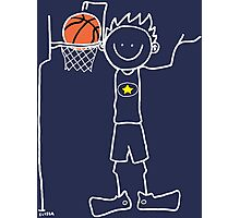 Slam dunk by a very tall basketball player - FOR DARK COLORED BACKGROUND Photographic Print