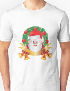 Santa Claus in Christmas Wreath Illustration Unisex T-Shirt