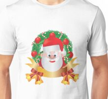 Santa Claus in Christmas Wreath Illustration Unisex T-Shirt