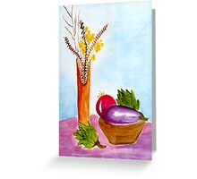 Eggplant and Artichokes Greeting Card
