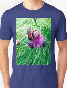 Blue and Red bugs on a pink flower Unisex T-Shirt