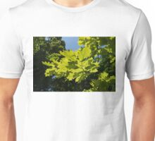 More Than Fifty Shades Of Green - Sunlit Oak and Linden Patterns - Up Left Unisex T-Shirt
