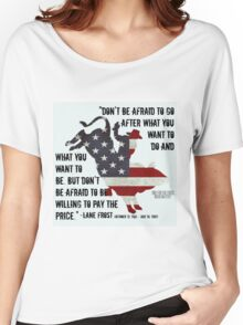 Lane Frost Tribute : American Flag/Quote Women's Relaxed Fit T-Shirt
