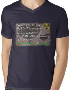 Would You Be My Wasteland Companion? Fallout Gamer Valentine Mens V-Neck T-Shirt