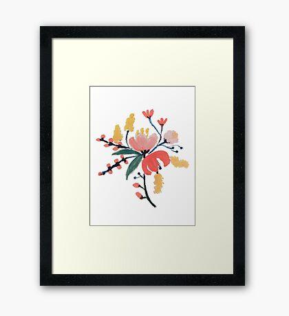 Peach Floral Framed Print