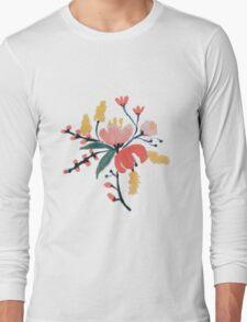 Peach Floral Long Sleeve T-Shirt