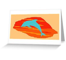 Blue Dolphin Sunset Greeting Card