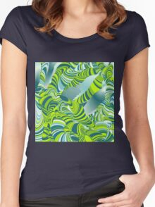 Cool,awesome,lime,green,mint,teal,wormy,pattern,abstract art Women's Fitted Scoop T-Shirt