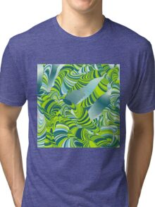 Cool,awesome,lime,green,mint,teal,wormy,pattern,abstract art Tri-blend T-Shirt