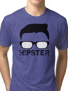 Cool Retro Hipster Glasses Design Tri-blend T-Shirt
