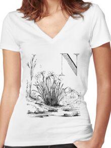 Garden Alphabet Letter N Women's Fitted V-Neck T-Shirt