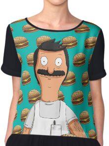 Bob Belcher Burger Pattern Blue Chiffon Top