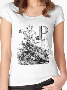 Garden Alphabet Letter P Women's Fitted Scoop T-Shirt