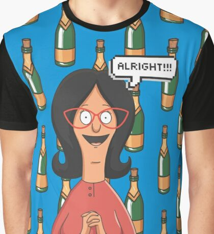 Linda Belcher Wine Pattern Blue Graphic T-Shirt