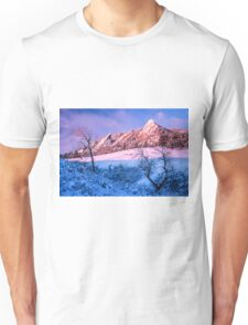 The Flatirons In Winter Blues And Pink Unisex T-Shirt