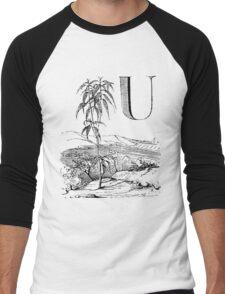 Garden Alphabet Letter U Men's Baseball ¾ T-Shirt
