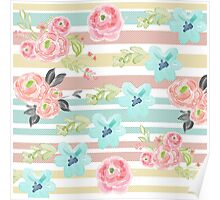 Shabby chic,water color,pastels,stripes,vintage,girly,cute Poster