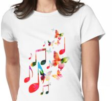 Music and butterflies Womens Fitted T-Shirt