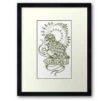 wisdom owl tattoo shirt Framed Print
