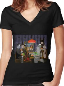 Classic Monsters Not Playing Poker - Playing Halloween Game: Halloweeja Women's Fitted V-Neck T-Shirt