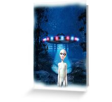 Forest UFO Close Encounter Greeting Card