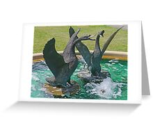 Two Swans in a Fountain Greeting Card