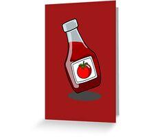 Cartoon Ketchup Bottle Greeting Card