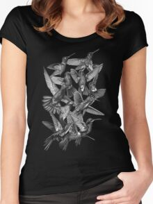 Hummingbird Dance in Sharpie (Grayscale Edition) Women's Fitted Scoop T-Shirt