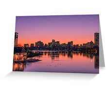 Dawn light on Boston and the Charles River. Greeting Card