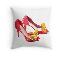 Watercolour Red Heel with Yellow Bows Throw Pillow