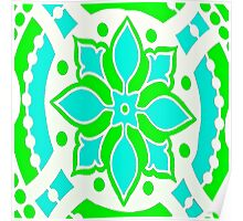 Green and Blue Medallion Abstract Poster