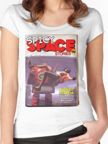Spicy Space Stories Fake Pulp Cover Women's Fitted Scoop T-Shirt