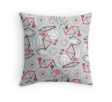 Bicycle Assembly Pattern (B W R) Throw Pillow